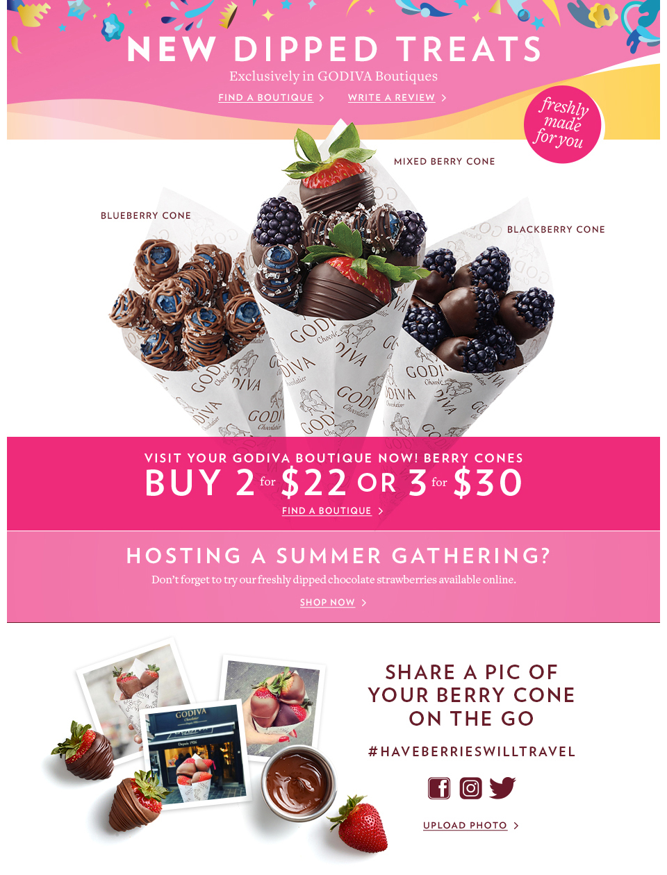 Chocolate Covered Berry Cones | Boutique Exclusives | GODIVA