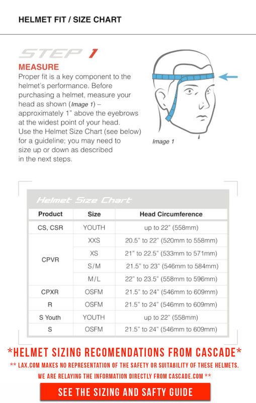 Cascade Lacrosse Helmet Sizing Guide