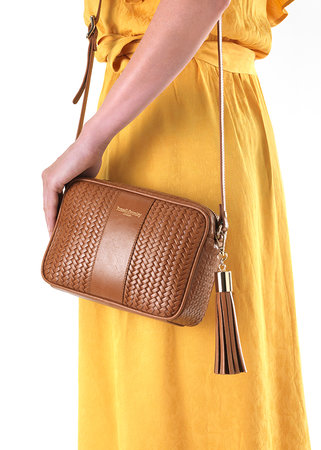 Tan Woven Leather Handbag
