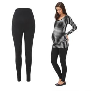 Black White Stripped Maternity Slacks Womens Pants Pregnancy Clothing Open Leg