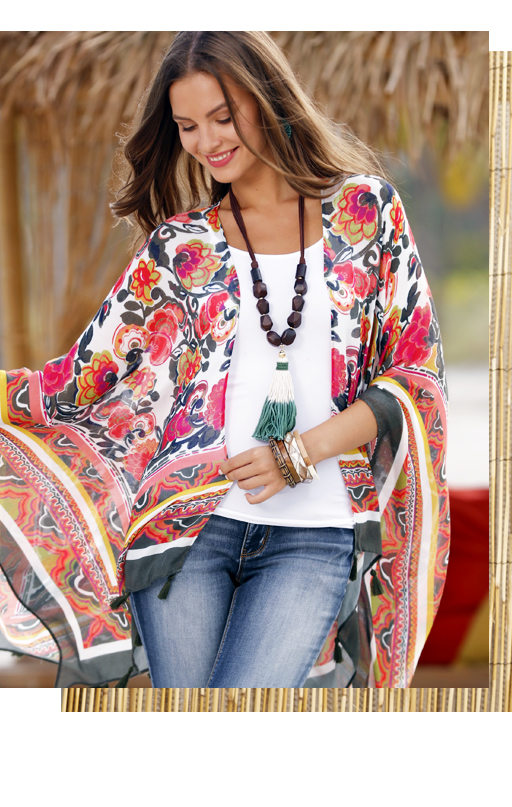 Go with the flow this summer. Shop new kimonos and cover ups.