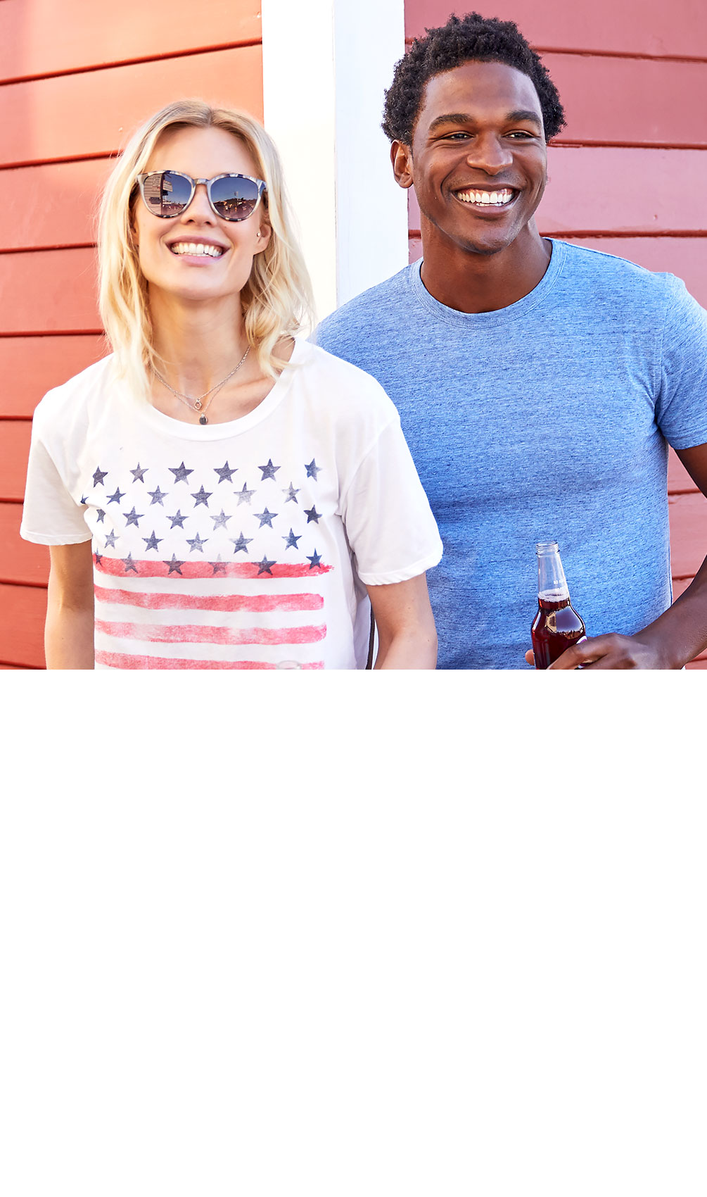 4ac0e6056c Girl and guy laughing wearing patriotic themed clothing from Buckle.