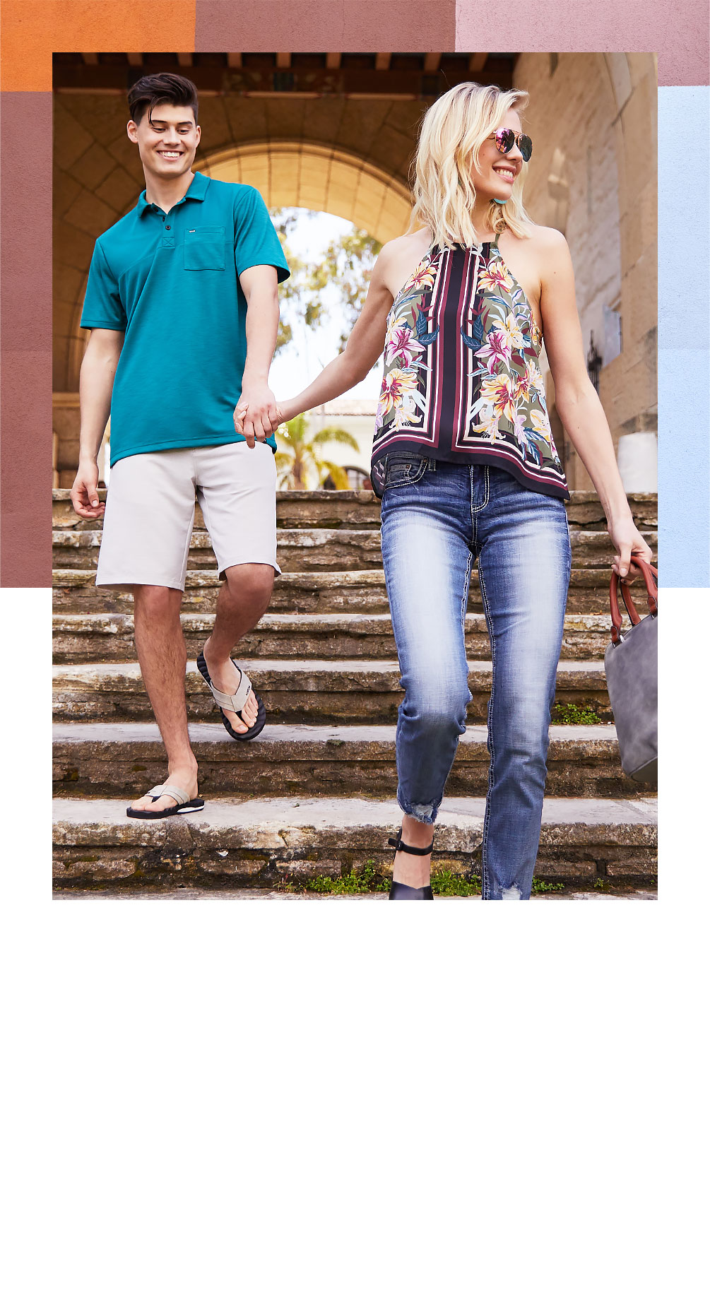 cddd72fc0e Guy and girl holding hands wearing new tops from Buckle. SHOP WOMEN